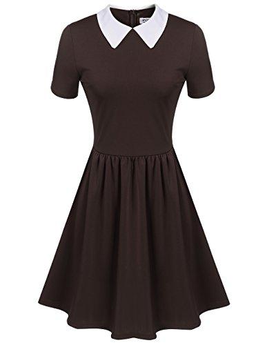 Women's Casual Short Sleeve Doll Collar Dress Peter Pan Collar Work Office Dress (L, Coffee)