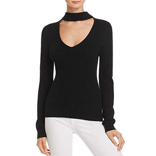 (Ramy Brook Womens Jill Ribbed Knit Long Sleeves Choker Sweater Black XS)