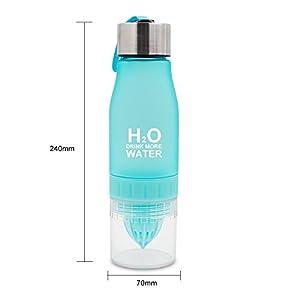 Lemon Water Bottle Leak Proof - BPA Free 24OZ Fruit Water Bottle for Sport (Blue)