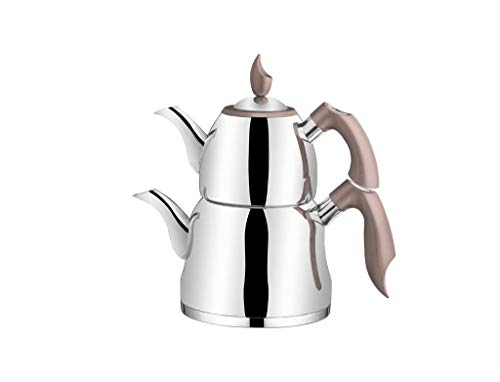 (Tac Eliza Collection 18/10 Stainless Steel Teapot, Modern Design Tea Maker, 100 Oz Capacity Turkish Samovar Double Teapot & Tea Kettle with Heat Resistant Handles and Pyrex Glass Lid, Brown)