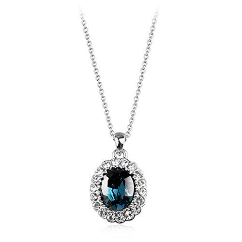 Rigant Oval Shaped Swarovski Elements Crystal Pendant Necklace Fashion Jewelry for Women (Sapphire)