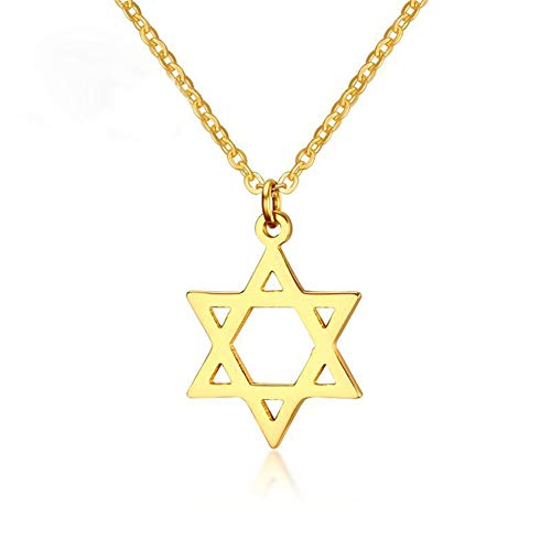 AILUOR 18K Gold Plated Megan Star of David Pendant Necklaces, Six Pointed Megan Star Jewish Israel Jewelry for Women/Men Hip Hop Jewelry (Gold)