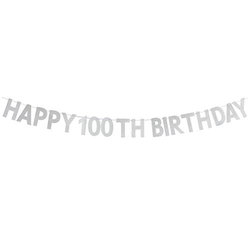 Happy 100th Birthday Banner - Cheers To 100 Years Birthday Anniversary Party Supplies, Ideas and Decorations - -