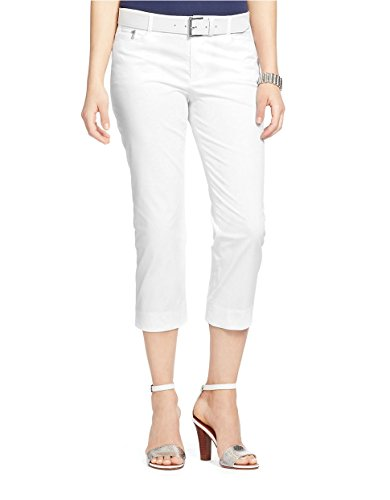 [Lauren Ralph Lauren Women's Stretch Twill Straight-Leg Cropped Pants (6, White)] (Stretch Twill Straight Leg Cropped Pants)