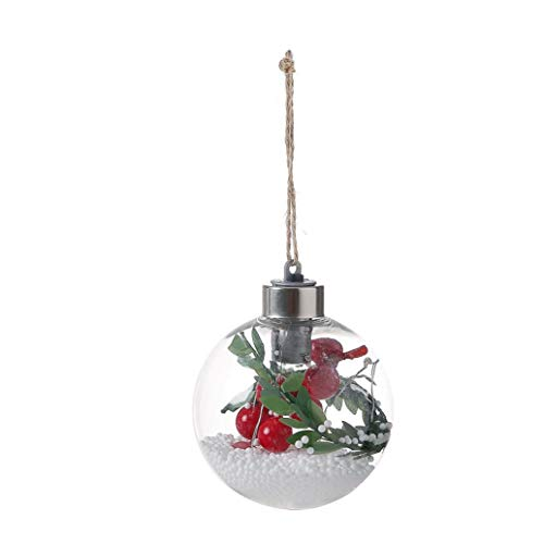 Ounice Christmas Copper Wire Spherical Lights Button Battery with Hemp Rope Suspension Lamp LED for DIY Christmas Tree Party House Decor (D)