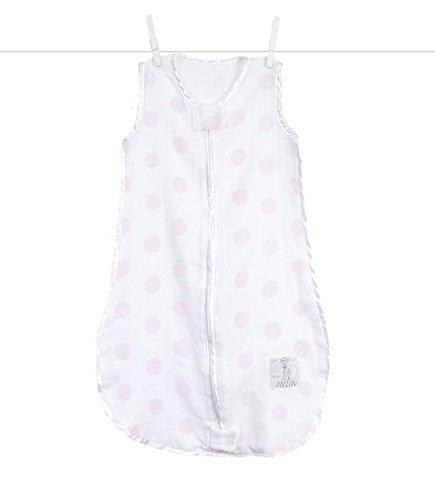 Giraffe Polka Dot Blankets - Little Giraffe Muslin Dot Dreamsack, Pink, 0-3 months