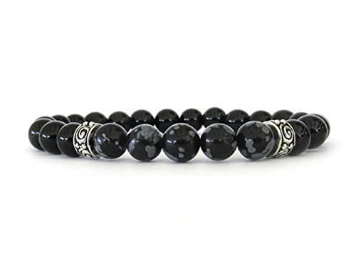 Amazon.com: Men's Bracelet with Onyx and Snowflake