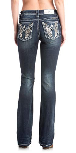Miss Me Women's Angel Wings and Flowers Embellished Pocket Boot Cut Jeans (Dark Blue, 31)