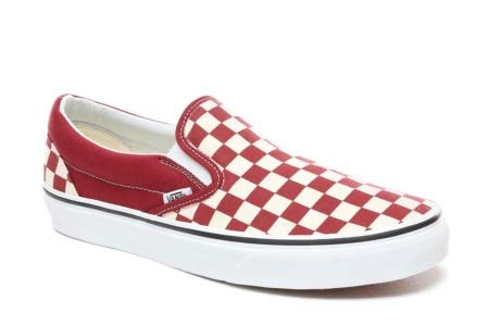 (Vans Classic Slip-On (Checkerboard) Rumba Red/True White 10.5 Men/12 Women )