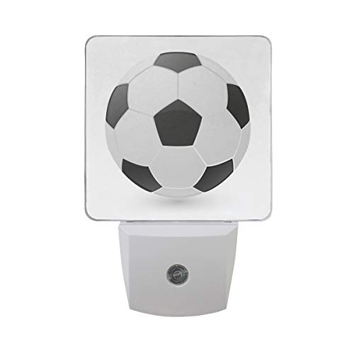 Naanle Set of 2 Soccer Football Sport Ball Emoji Icon Object Symbol Gradient Art Design Auto Sensor LED Dusk to Dawn Night Light Plug in Indoor for Adults by Naanle