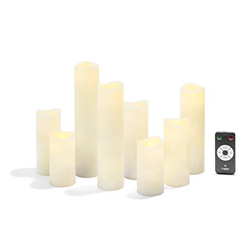 Slim Flameless Pillar Candles Set - Warm White LED Lights, Smooth Wax Finish, Assorted Sizes, Remote and Batteries Included - Set of 8 ()