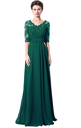 Belle House Teal Green Lace Chiffon Mother of Bride Dress Formal Gown Half Sleeve