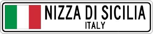 NIZZA DI SICILIA, ITALY - Italian Flag Aluminum City Sign - 4 x 18 Inches