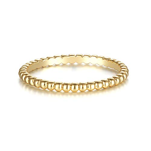 Valloey 14K Gold Thin Beaded Rings, Full Bead Sterling Twisted Rope Wedding Band Stacking Ring for Women(Ring-Bead-6)