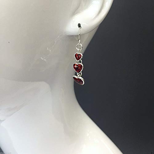 - Silver Finish Red Glitter Triple Heart Shaped Drop Dangling Earrings