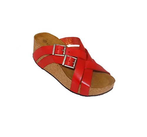 Eric Michael Joan In Pelle Da Donna Slip On Wedge Shoes Rosso