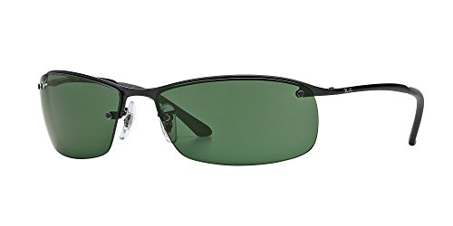 Ray-Ban Mens Sunglasses (RB3183) Black Matte/Green Metal - Non-Polarized - 63mm