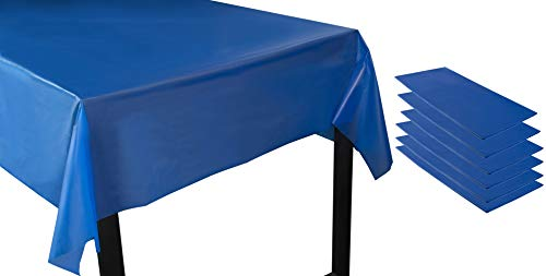 Juvale Royal Blue Plastic Tablecloth - 6-Pack 54 x 108-Inch Rectangle Disposable Graduation Table Cover, Fits up to 8-Foot Tables, Grad Party Decoration Supplies, 4.5 x 9 -