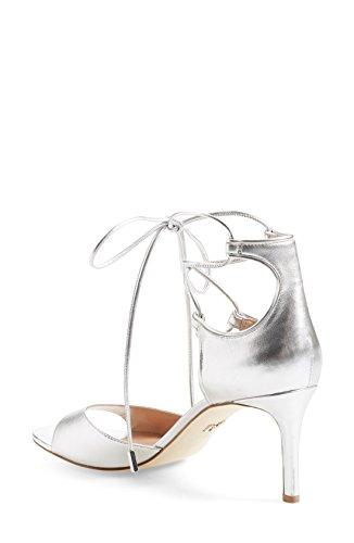 Diane von Furstenberg Women's Rimini Leather Silver Metallic Heeled Sandals Shoe Size 6.5 m