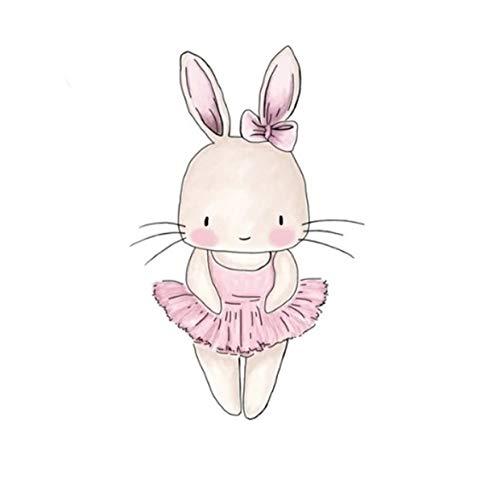 (GVGs Shop 1 Pack Cartoon Rabbits Animal Art for Kids Rooms Baby Bedroom Nursery On Wall DIY Sticker Lotus Flower Jungle Dream Decals Window Cars Decal Terrific Popular Vinyl Mural Decor, Type-02)