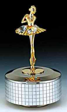 BALLERINA Silver Gold Swarovski Crystal Music Box by KG&C
