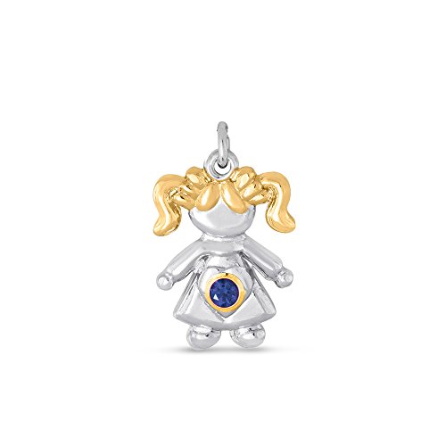 - Esty & Me Sterling Silver Two Tone Pendant With Simulated Birthstone, Little Girl Charm - September