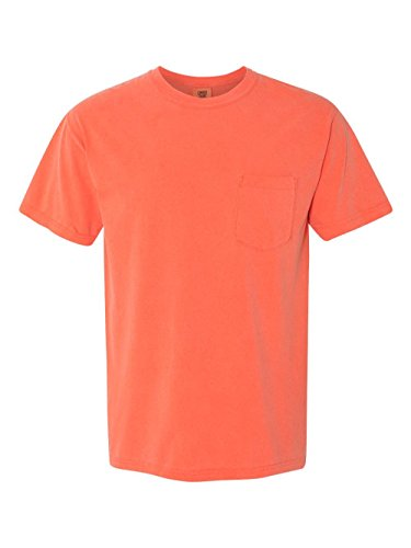 Washed Sleeve Short Garment T-shirt (Comfort Colors - Garment Dyed Heavyweight Ringspun Short Sleeve Shirt with a Pocket - 6030 - M - Bright Salmon)