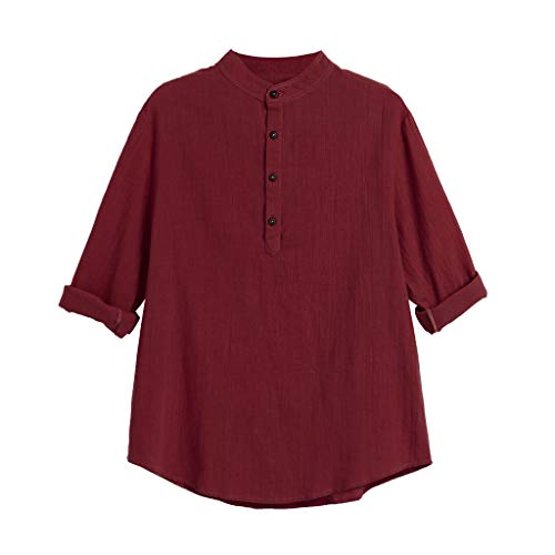 Big Sales, Anewoneson 2019 Mens Long Sleeve Henley Shirt Leisure Beach Yoga Loose Fit Tops Blouse Wine