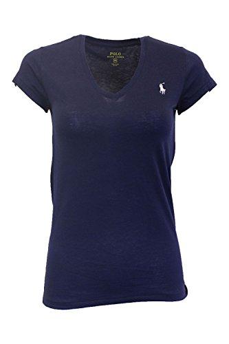 Ralph Lauren Sport Women's V-neck T-shirt (X-Large, Navy)