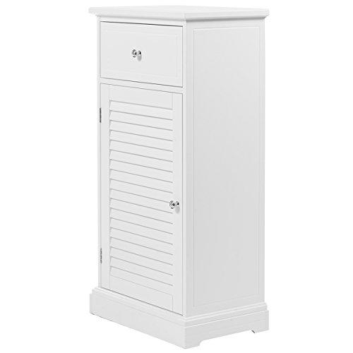 Giantex White Storage Floor Cabinet Wall Shutter Door Bathroom Organizer Cupboard Shelf by Giantex