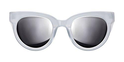 Triwa Women's Olivia Wayfarer Sunglasses, Semi Transparent White & Transparent Burgundy Temple Tips, 55 - Triwa Sunglasses
