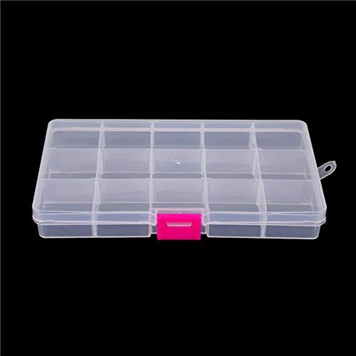 NH-NH Box Organizer: 2017 New 17.49.82.2cm 15Cells 5 Colors Button&Jewel Case Transparent Color DIY Organizer Box Splittable Plastic Storage Boxes