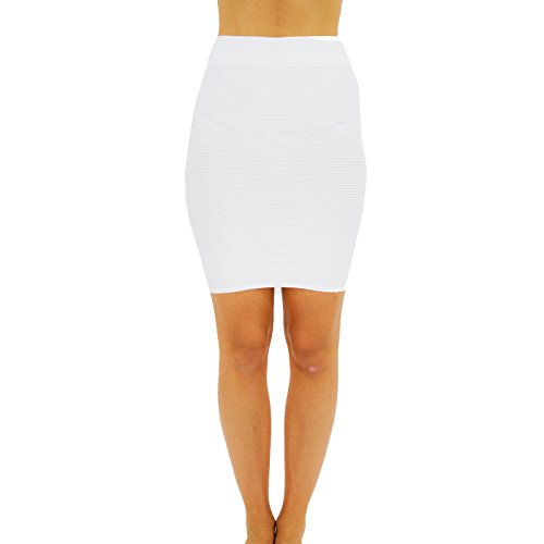 TD Collections Bandage Bodycon Mini Knit Basic Stretch Short Pencil Skirt Thin LINE Skirt (One Size, White)