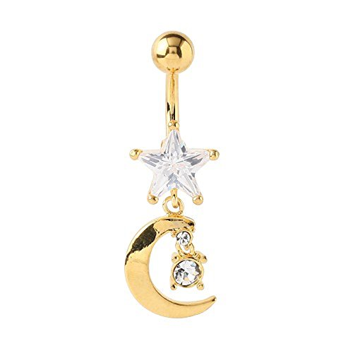Piercing de nombril étoile/lune doré or