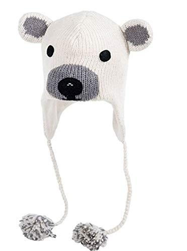 Sherpa Love Hand Knit Unisex Wool Animal Beanie Hat Cap Ear Flap Fleece Lined Nepal (Youth/Adult, Polar Bear)