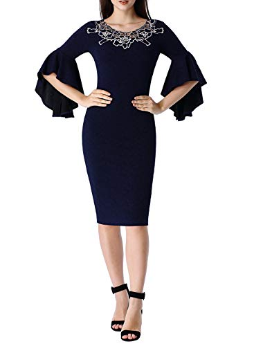 VFSHOW Womens Navy Blue V Neck Floral Applique Ruffle Bell Sleeve Cocktail Party Bodycon Sheath Dress 2803 DBLU (Sleeve Embroidered Applique)