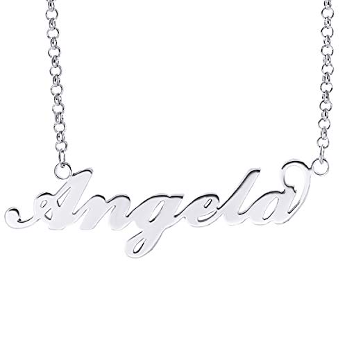 HACOOL Name Plate Necklace Custom Name Necklace Customized Necklace with Any Names in 14K Gold/Silve/Rose Gold Jewelry for Women Angela in Silver ()