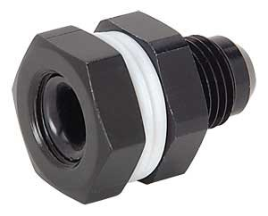 JEGS Performance Products 110560 Black High-Flow Fuel Cell Bulkhead Fitting - Fitting Black Poly Bulkhead