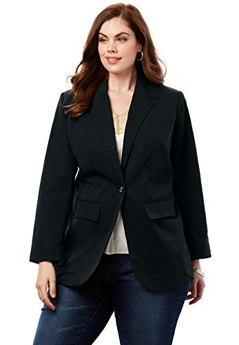 Roamans Women's Plus Size Boyfriend Blazer - Black, 12 W (Romans Coats)
