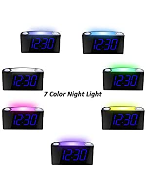 Mesqool Bedroom Alarm Clock with Night Light, USB Charger