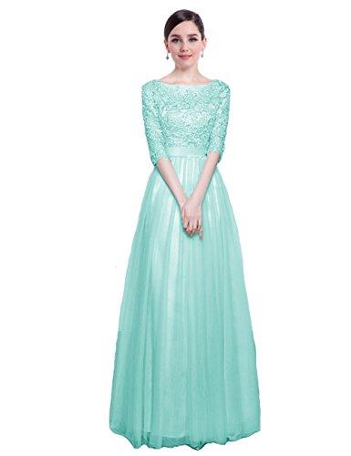 V für LuckyShe Hochzeit Pailletten Türkis Brautjungfernkleid Damen Ausschnitt Abendkleider ELegant Lang qPwq8ZxUR