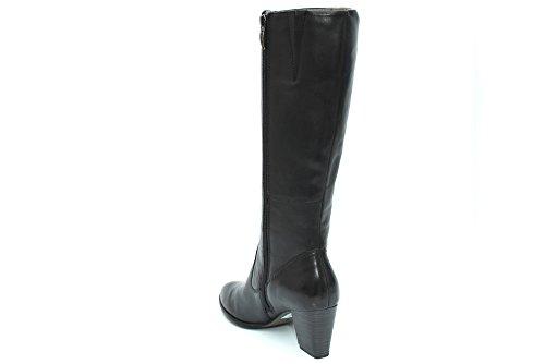 L10868A - Bottes en cuir à talon large - hauteur genou - femme - Noir