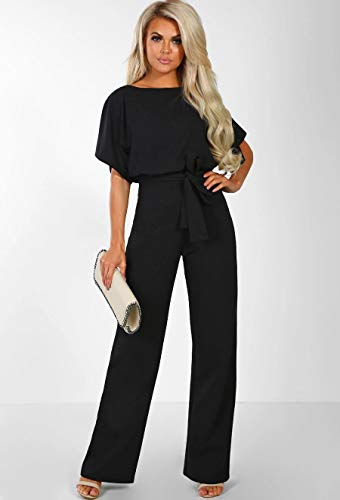 279f641c441 ALAIX Women s Casual Short Sleeve Jumpsuit Loose Wide Leg Long Pants Rompers  with Waistband Black-