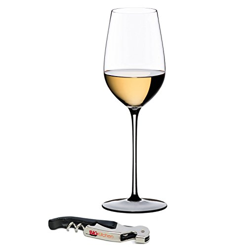 (Riedel Sommeliers Black Tie Leaded Crystal Riesling Grand Cru Wine Glass with Bonus BigKitchen Waiter's Corkscrew)