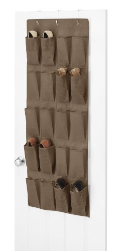 Whitmor 20 Pocket Over The Door Shoe Organizer, Chocolate