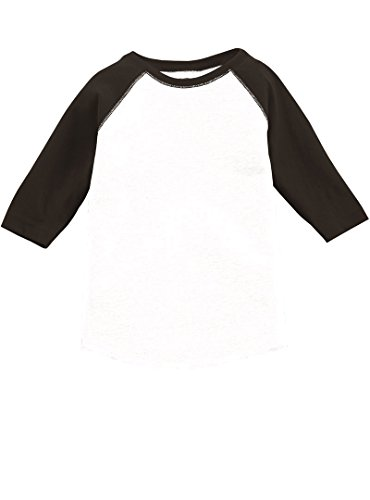 Saapni Unisex Toddler 3/4 Raglan Sleeve Crew Neck Fine Jersey Baseball T-Shirt Tee-White/Black-5/6