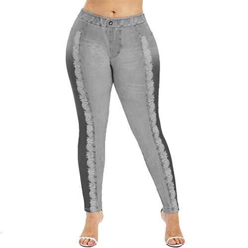 2ca236b34ec CHLZYD Popular Women Fake Denim Jeans Leggings Jeggings Streth Slim Skinny  Trousers Tight Pants Gray