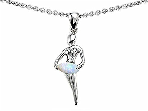Star K Ballerina Dancer Pendant Necklace with Round 7mm Created Opal Sterling Silver