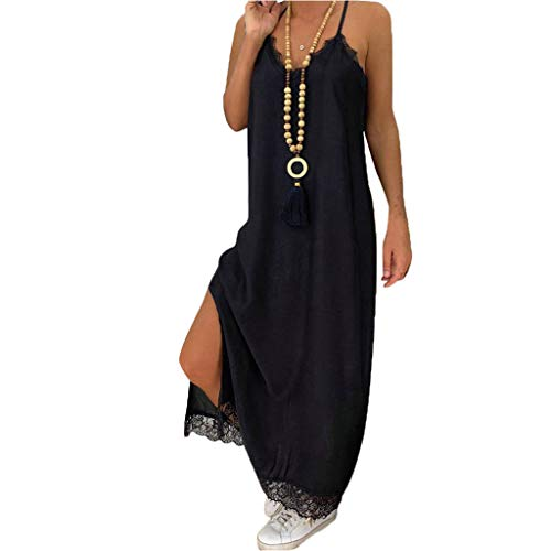 (CCatyam Dresses for Women, Sleeveless Strap Lace Solid Loose Maxi Casual Summer Party Fashion Black)