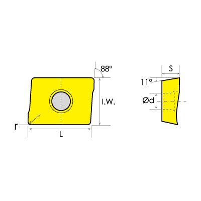 0.0157 Nose Radius 0.482 Length HHIP 6010-4002 APKT//PM Carbide Shoulder Milling Insert